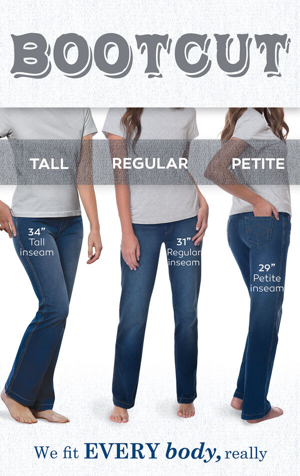 "We fit EVERY body, really. Bootcut jeans have a 34"" Tall inseam, 31"" Regular inseam, and 29"" Petite inseam. image number 4"