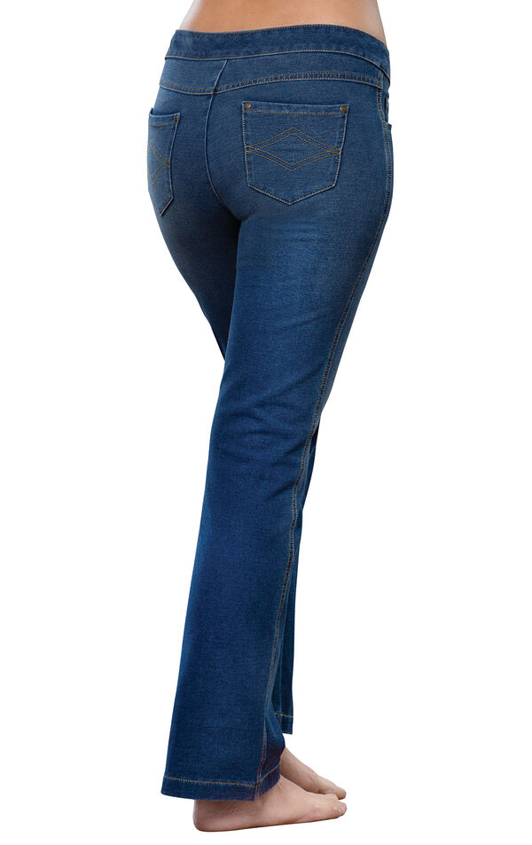 Model wearing PajamaJeans - Bootcut Bluestone Wash, facing away from the camera image number 1