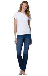 Model wearing PajamaJeans - Skinny Bluestone Wash, facing to the side image number 2