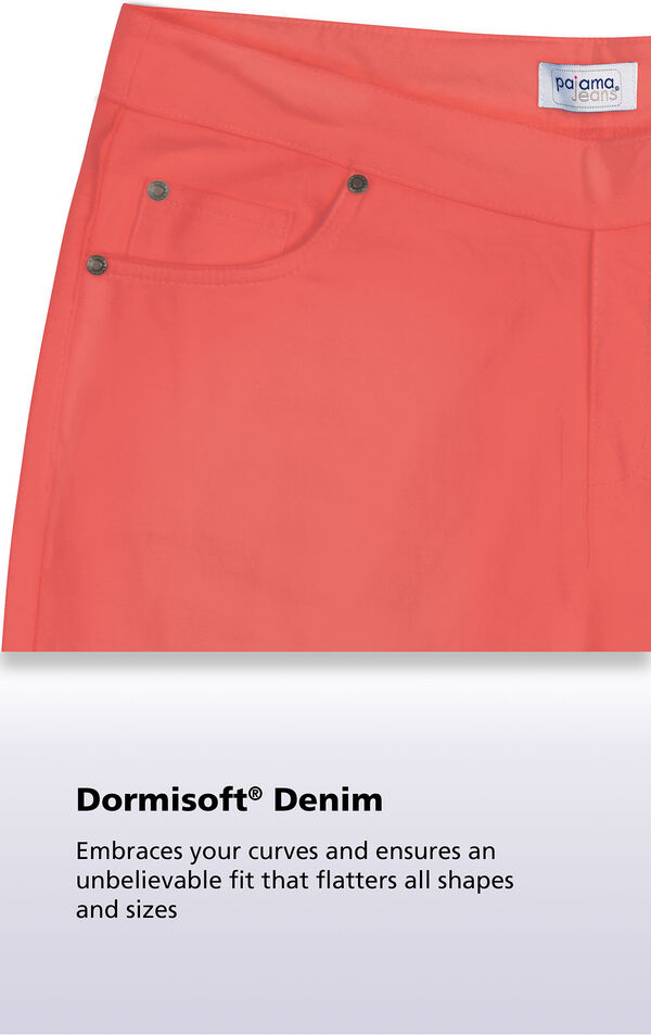 A close up of Coral Dormisoft Denim, it embraces your curves and ensures an unbelievable fit that flatters all shapes and sizes image number 5