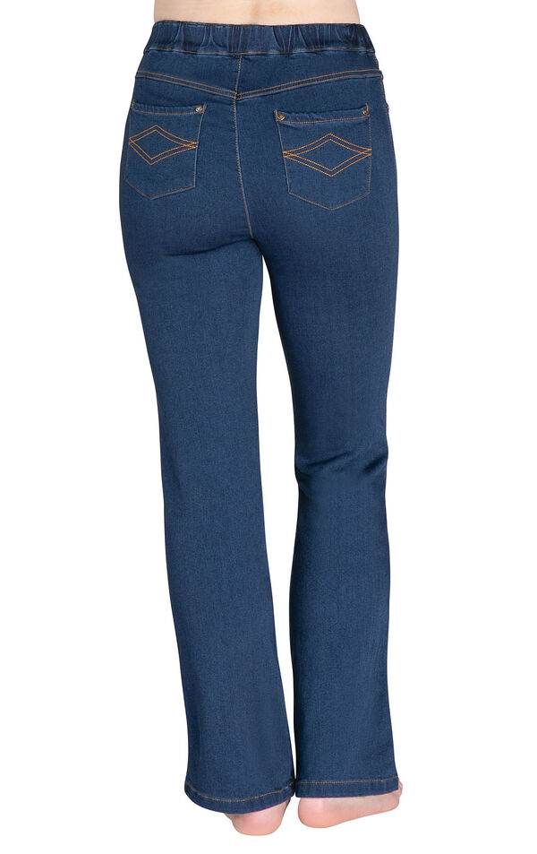 Model wearing PajamaJeans - High-Waist Bootcut Bluestone Wash, facing away from the camera image number 1