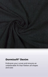 Black denim Dormisoft Denim fabric with the following copy: Dormisoft Denim - Embraces your curves and ensures an unbelievable fit that flatters all shapes and sizes. image number 3
