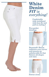 White Denim, Fit is everything! Comfortable wide waistband with faux fly and pull-on styling, Five pocket detailing, Dormisoft Denim embraces your curves and ensures an unbelievable fit that flatters all shapes and sizes, Pewter rivets. image number 2