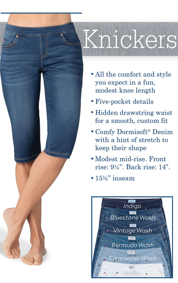 Vintage wash knickers have all the comfort and style you expect in a fun, modest knee length. Hidden drawstring waist for a smooth, custom fit. Comfy Dormisoft Denim with a hint of stretch. Modest mid-rise: Front 9.25'', Back: 14''.  Inseam: 15.5'' image number 3