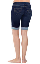 Model wearing PajamaJeans Bermuda Shorts - Indigo, facing away from the camera image number 3