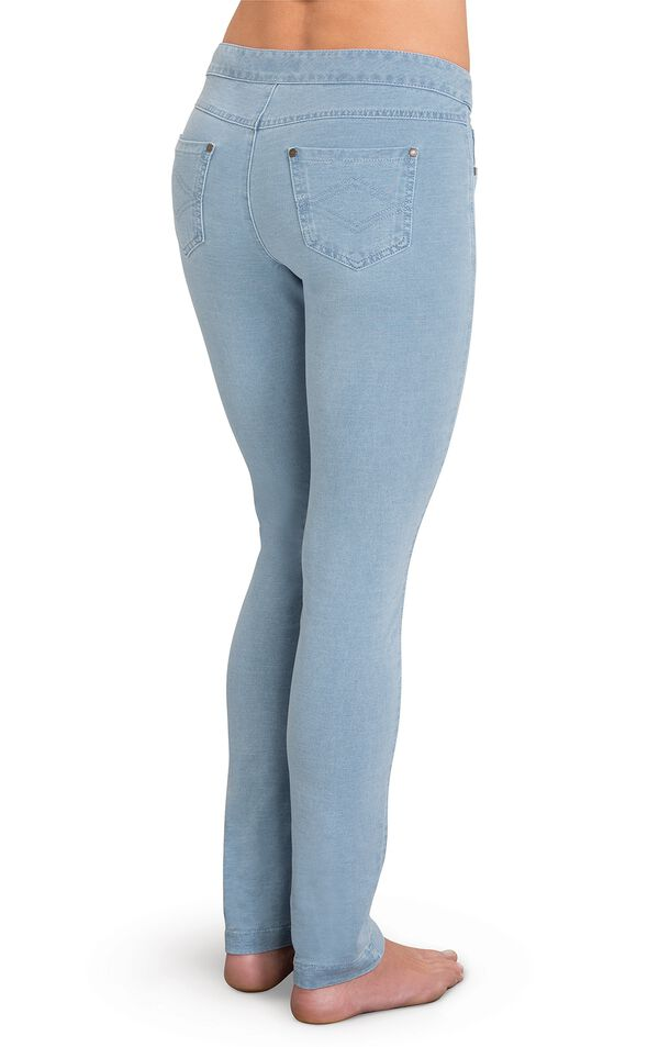 Model wearing PajamaJeans - Skinny Clearwater Wash, facing away from the camera image number 1
