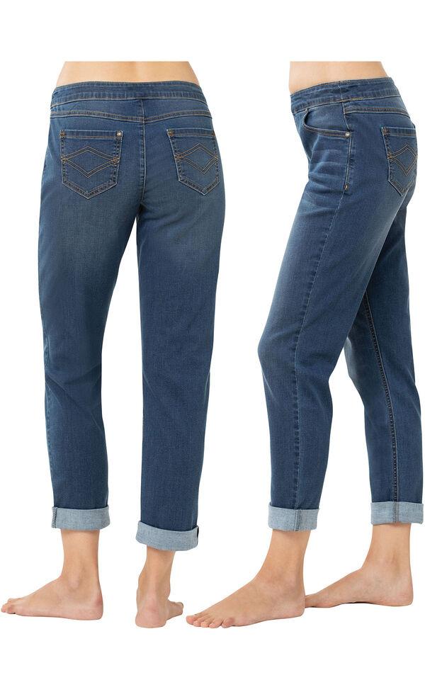 PajamaJeans Boyfriend Jeans - Vintage Wash - Side and Back Views image number 1