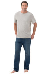 Model wearing Vintage Wash PajamaJeans for Men paired with a gray short-sleeve t-shirt image number 2