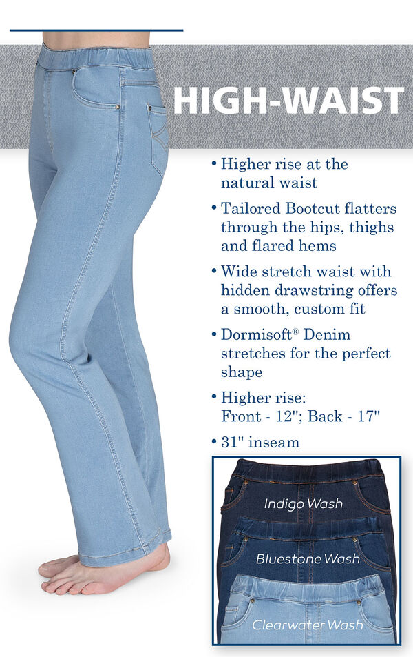 High-Waist PajamaJeans have higher rise at the natural waist, a tailored bootcut that flatters, a wide stretch waist with hidden drawstring and dormisoft denim that stretches for the perfect shape. Higher rise: Front - 12''; Back - 17''. 31'' inseam. image number 3
