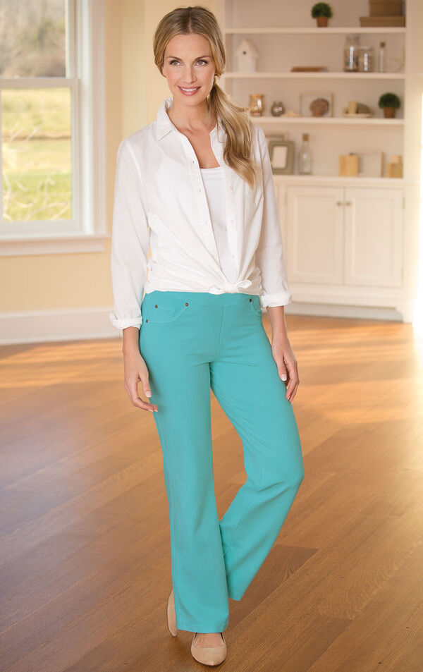Model wearing Bootcut Aqua PajamaJeans paired with tan flats and a White button-up blouse image number 3