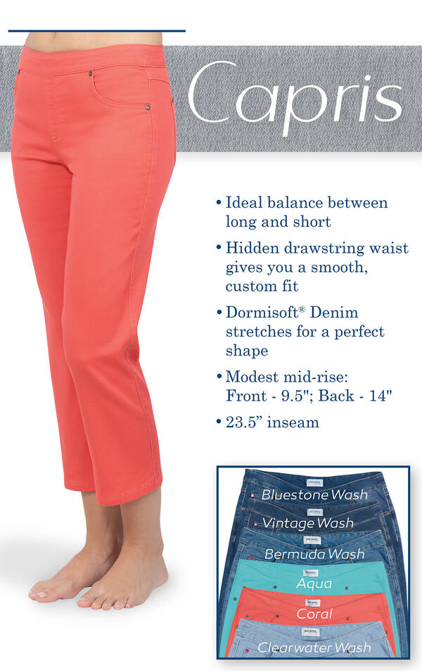 Coral capris are the ideal balance between long and short. Hidden drawstring waist for a smooth, custom fit.  Dormisoft Denim stretches for a perfect shape. Modest mid-rise: Front 9.5'', Back: 14''. Inseam: 23.5'' image number 3