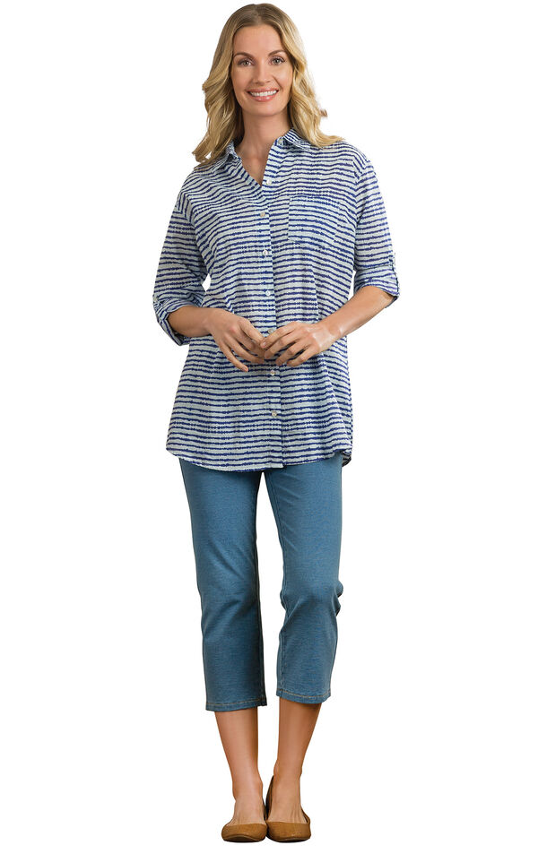 Model wearing Bermuda Wash Capris paired with yellow flats and a navy and white button-up blouse image number 2