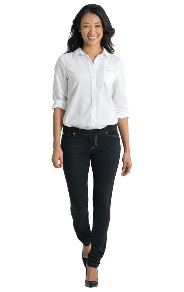Model wearing Skinny Black PajamaJeans paired with black flats and a White blouse. image number 2