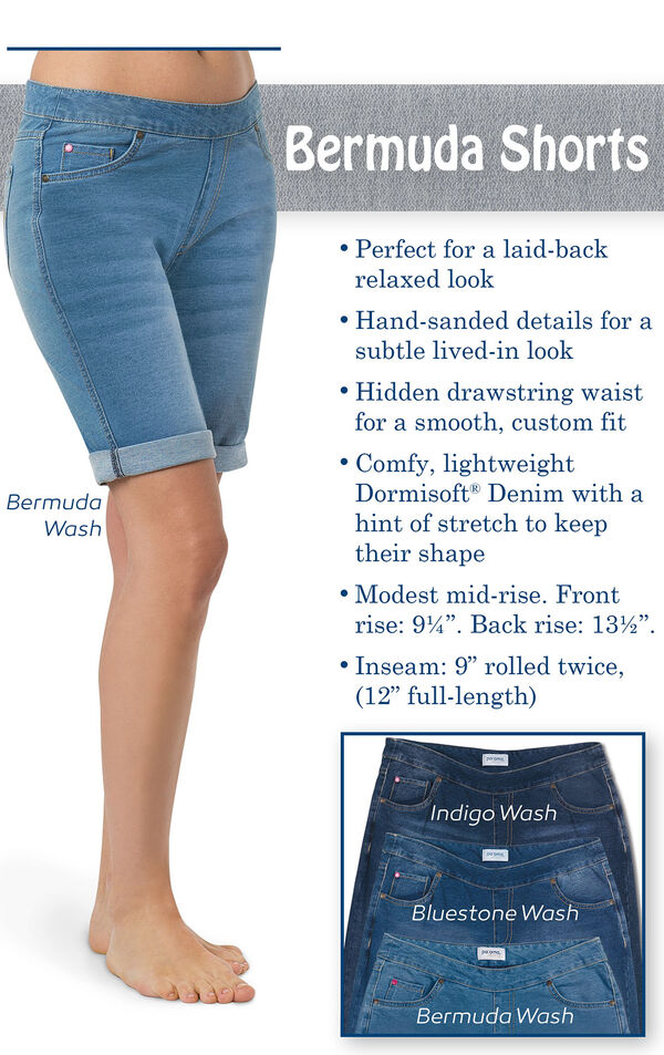 Hand-sanded details for a subtle lived in look. Hidden drawstring waist. Comfy, lightweight Dormisoft Denim with a hint of stretch. Modest mid-rise. Front rise: 9.25''; Back rise: 13.5''. Inseam: 9'' rolled twice (12'' full length) image number 2