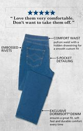 Men's Pacific Wash PajamaJeans laying flat with the following copy: Pull-on waist with hidden drawstring, Embossed Rivets, 5-Pocket Detailing, Exclusive Dormisoft Denim ensures a great fit, soft feel and durable comfort every time. image number 3