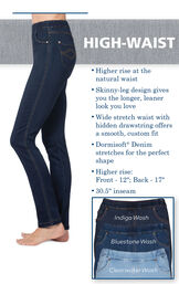 High-Waist PajamaJeans have higher rise at the natural waist, a skinny-leg design that gives you a longer, leaner look, a wide stretch waist with hidden drawstring and dormisoft denim. Higher rise: Front - 12''; Back - 17''. 30.5'' inseam. image number 2