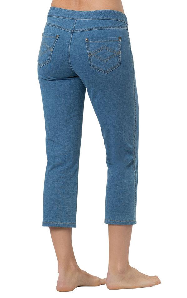 Model wearing PajamaJeans Capris - Bermuda Wash, facing away from the camera image number 1