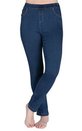 Model wearing PajamaJeans - High-Waist Skinny Bluestone Wash image number 0