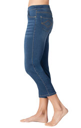 Model wearing PajamaJeans Capris - Vintage Wash, facing to the side image number 2