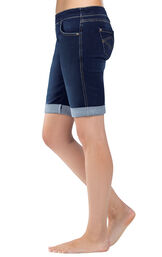 Close-up of model's waist and legs wearing PajamaJeans Bermuda Shorts Indigo, Cuffed, facing to the side image number 2