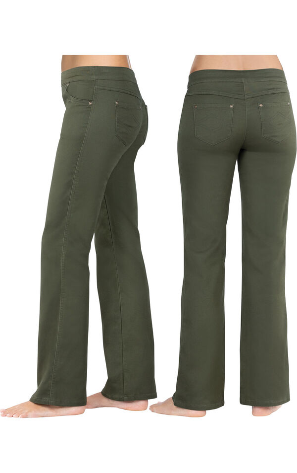 Model wearing PajamaJeans - Bootcut Olive, facing away from the camera and then to the side image number 1