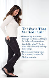 Model wearing Bootcut Black PajamaJeans with black flats and a white long-sleeve t-shirt and the following copy: Bootcut leg is tailored through the hips and thighs for balanced proportions. Comfy Dormisoft Denim with a bit of stretch to keep their shape. Hidden drawstring waist for a smooth custom fit. Modest mid-rise. image number 2
