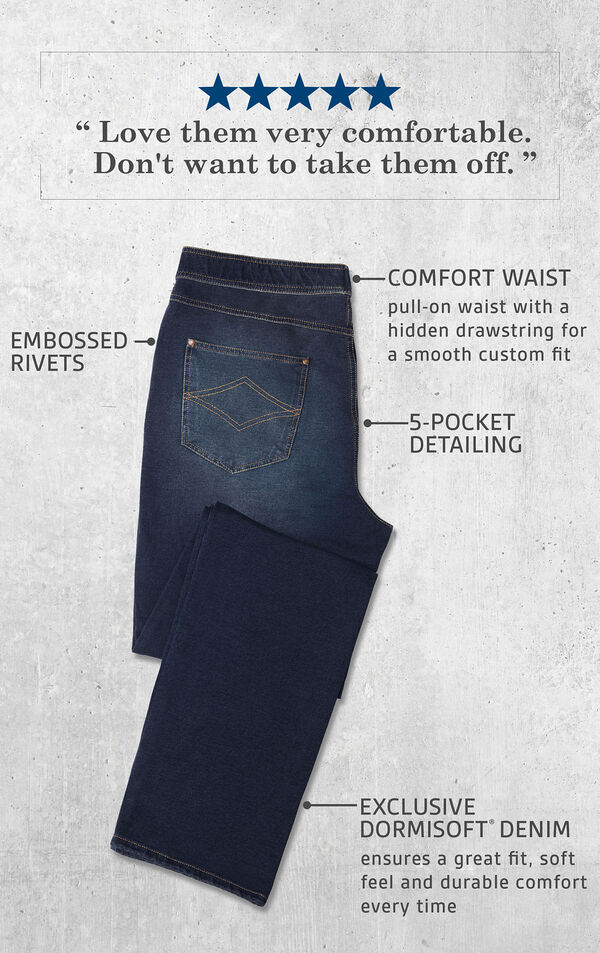 A Pair of Men's Indigo Wash PajamaJeans laying flat with the following copy: Pull-on waist with hidden drawstring, Embossed Rivets, 5-Pocket Detailing, Exclusive Dormisoft Denim ensures a great fit, soft feel and durable comfort every time. image number 4