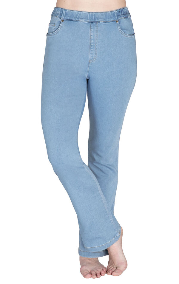 Model wearing PajamaJeans - High-Waist Bootcut Clearwater image number 0