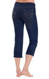 Model wearing PajamaJeans Capris - Indigo, facing away from the camera image number 1