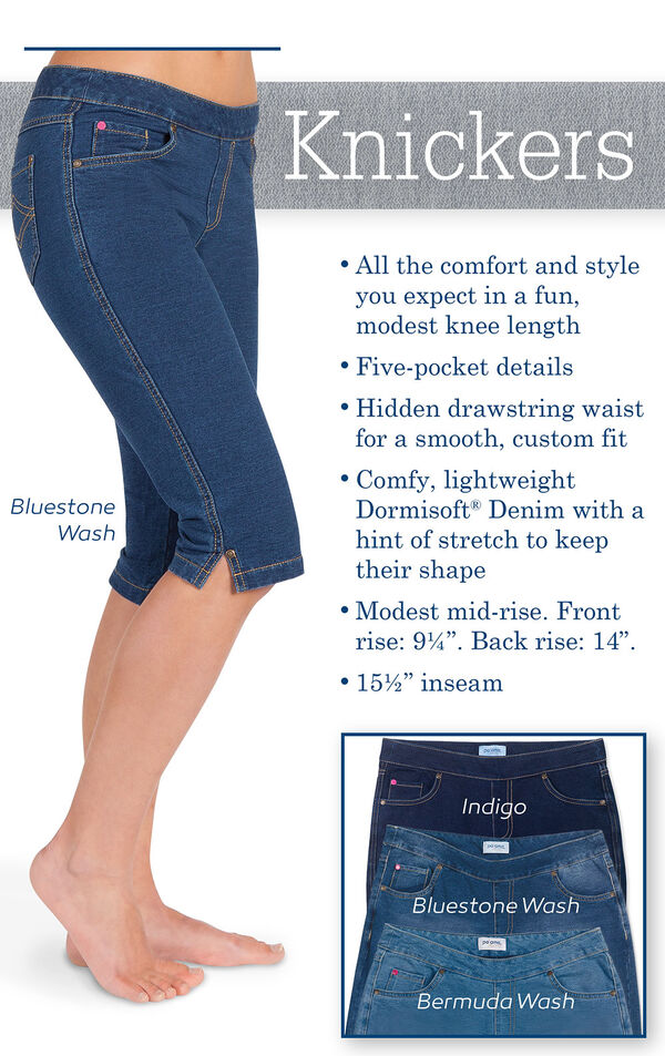 "Knickers - All the comfort and style you expect in a fun, modest knee length. Five-pocket details. Hidden drawstring waist for a smooth, custom fit. Comfy Dormisoft Denim with a hint of stretch to keep their shape. Modest mid-rise. Front rise: 9.25"", Back image number 2"