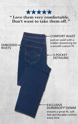 Bluestone Wash PajamaJeans for Men laying flat with the following details: embossed rivets, comfort pull-on waist with a hidden drawstring, 5-pocket detailing and Dormisoft Denim. Custom Quote: ''Love them very comfortable. Don't want to take them off.'' image number 2