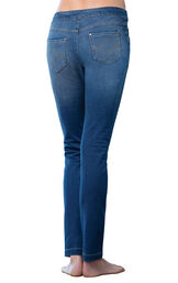 Model wearing PajamaJeans - Skinny Bluestone Wash, facing away from the camera image number 1