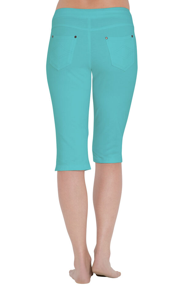 Model wearing PajamaJeans Knickers - Aqua, facing away from the camera image number 1