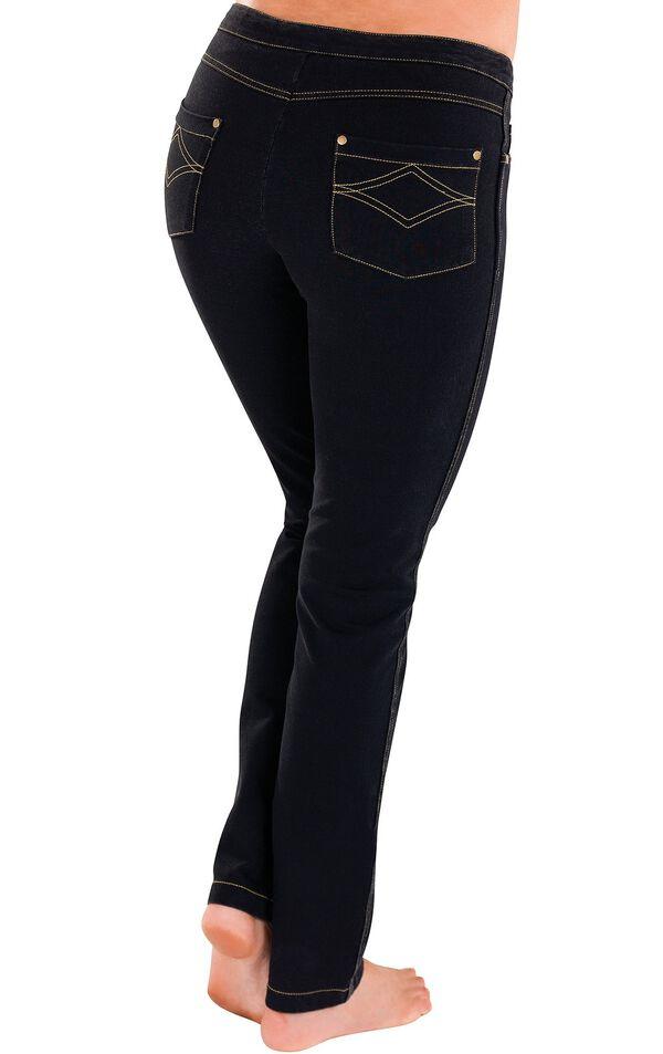 Model wearing PajamaJeans - Skinny Black, facing away from the camera image number 1