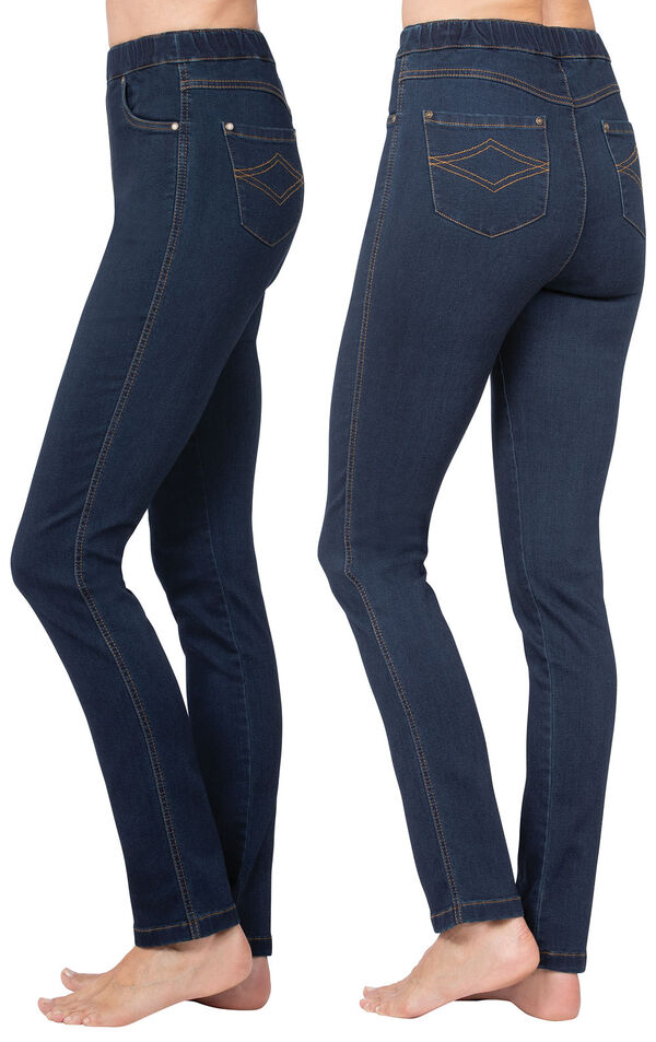 Model wearing PajamaJeans - High-Waist Skinny Indigo, facing away from the camera and then to the side image number 1