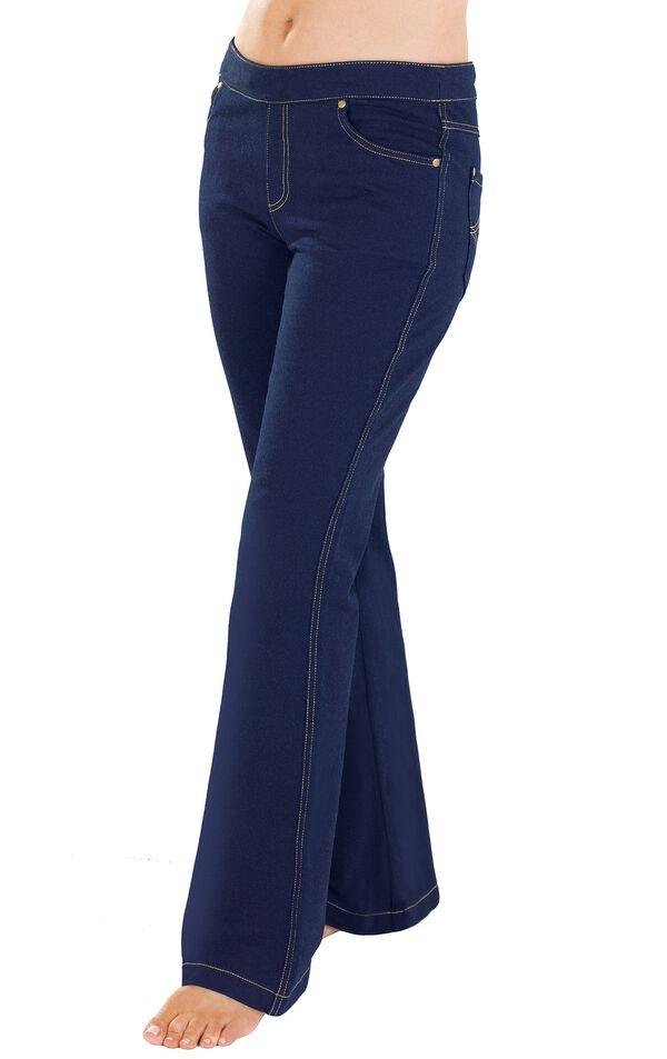 Model wearing PajamaJeans - Bootcut Indigo - The Original PajamaJeans image number 0