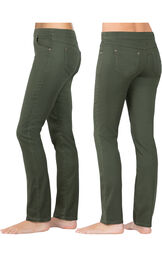 Model wearing PajamaJeans - Skinny Olive, facing away from the camera and then to the side image number 1