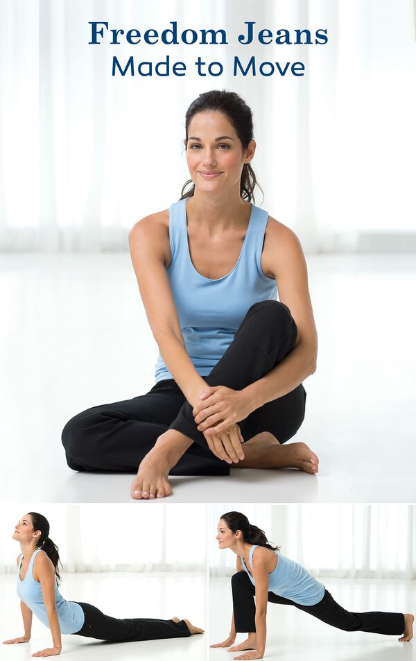 Woman doing yoga poses wearing Bootcut Freedom Jeans image number 4