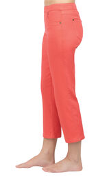 Model wearing PajamaJeans Capris - Coral, facing to the side image number 2