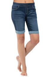 Model wearing PajamaJeans Bermuda Shorts - Indigo Wash image number 1