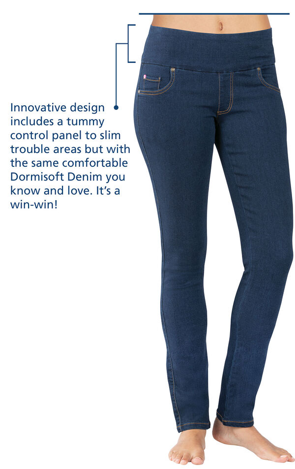 Tummy Control jeans with the following copy: Innovative design includes a tummy control panel to slim trouble areas but with the same comfortable Dormisoft Denim you know and love. It's a win-win! image number 2