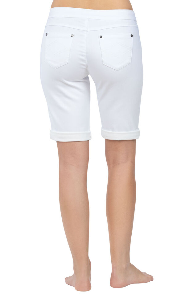 Model wearing PajamaJeans Bermuda Shorts - White, facing away from the camera image number 1