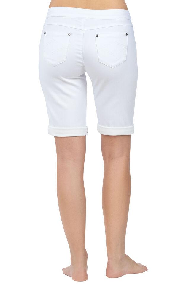 Model wearing PajamaJeans Bermuda Shorts - White, facing away from the camera image number 1