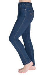 Model wearing PajamaJeans - High-Waist Skinny Bluestone Wash facing away from the camera, displaying the side of the jeans image number 2