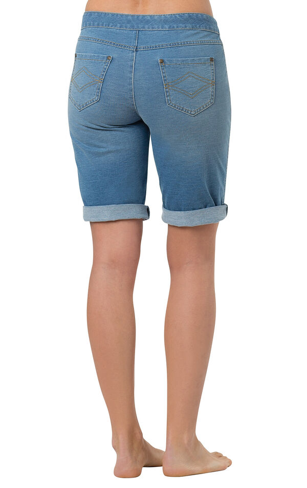 Model wearing PajamaJeans Bermuda Shorts - Bermuda Wash, facing away from the camera image number 1