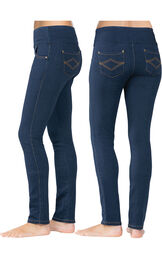 Model wearing PajamaJeans Tummy Control - Skinny Indigo, facing away from the camera and then to the side image number 1