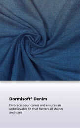 Vintage Wash Denim fabric with the following copy: Exclusive Dormisoft Denim ensures a great fit, soft feel and durable comfort every time image number 3