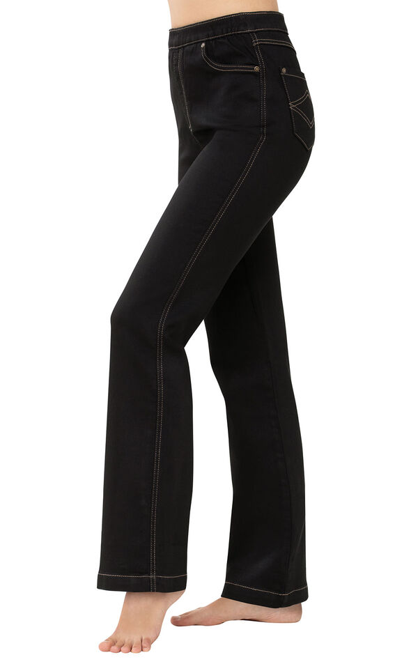PajamaJeans - High-Waist Bootcut Black - Side View image number 2